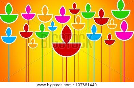 Colorful Diyas Illustration on Orange Background