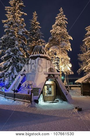 Cafe At Santa Claus Office In Rovaniemi That Is In Lapland In Finland On The Arctic Pole Circle