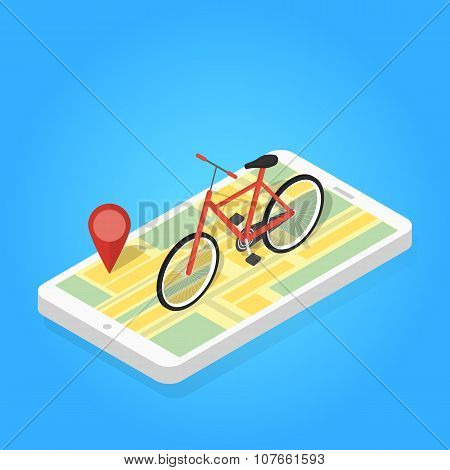 Isometric illustration of phone map bicycle.