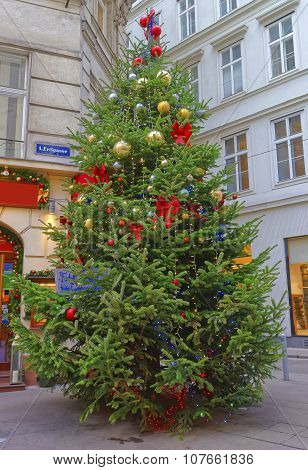 Christmas Tree With Modern Design Decoration In Downtown Of Vienna In Austria