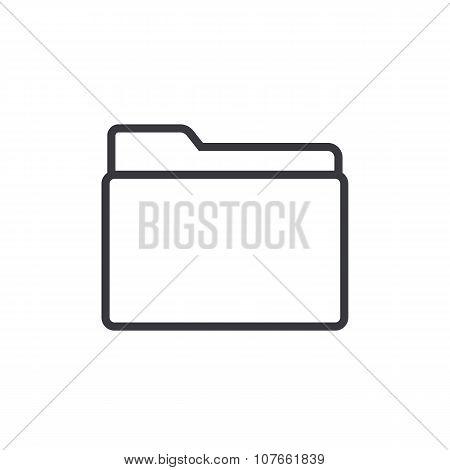 Folder outline icon, modern minimal flat design style, vector illustration