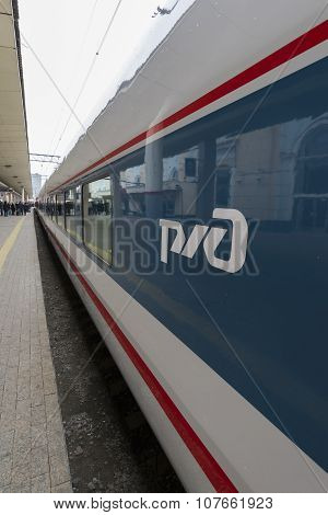 MOSCOW, RUSSIA -01.11.2015. The emblem of RZD on  high-speed train Strizh