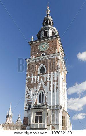 Poland, Krakow, Main Market, Town Hall Tower, Sunlit