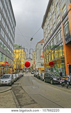 Rotenturmstrasse With Giant Red Balls As Christmas Decoration In Vienna In Austria