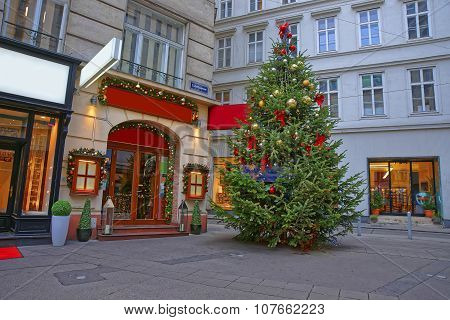 Street And Christmas Tree With Modern Design Decoration In Downtown Of Vienna In Austria
