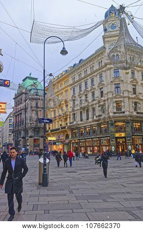 Graben Street In The Old City Of Vienna In Austria With Christmas Decoration In The Street