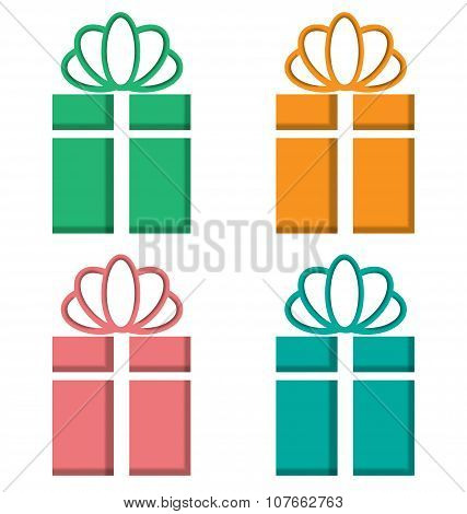 Gift Boxes Cutout On Different Backgrounds On White
