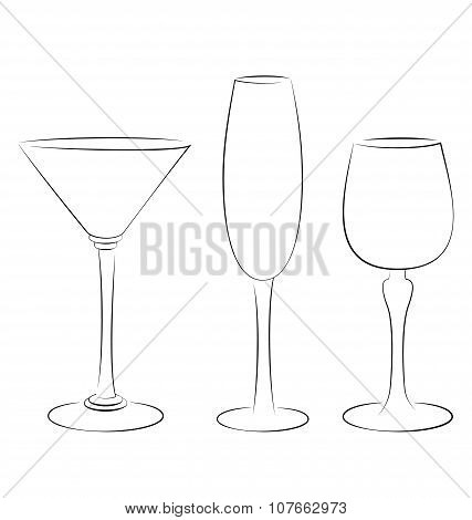 Three Isolated Outline Glass For Alcohol Drinks On White