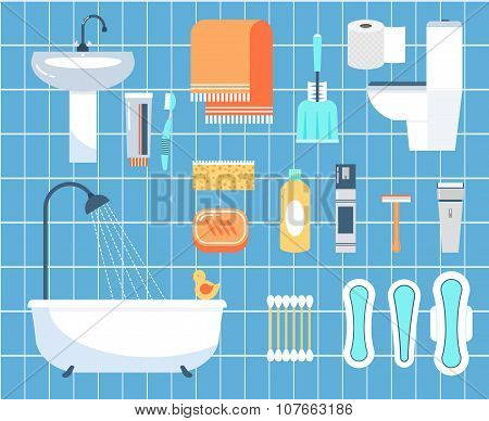 Personal hygiene flat vector icons set