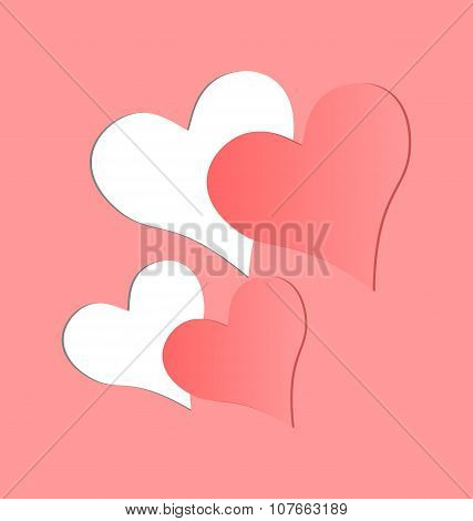Two Pink Hearts Cutted In Pink Paper