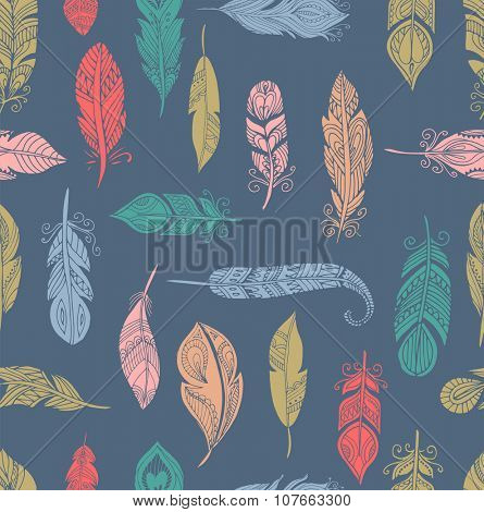 Bohemian style feathers seamless pattern