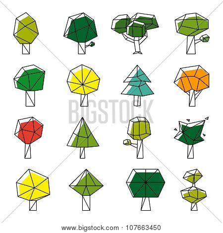 Line art polygonal trees vector icons