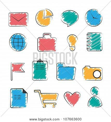 Set Of Business Office Flat Hand-drawn Icons Isolated On White