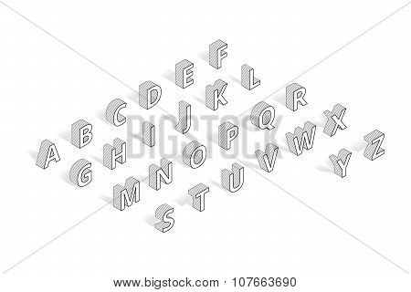 Isometric vector font alphabet line art