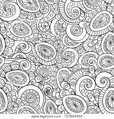 Seamless abstract floral doodle pattern.