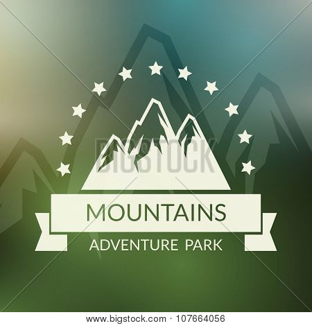 Mountain landscape vector background. Outdoor activity symbol