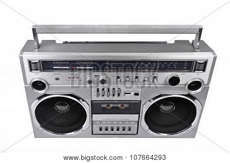 1980S Silver Radio Boom Box  Isolated On White. Above