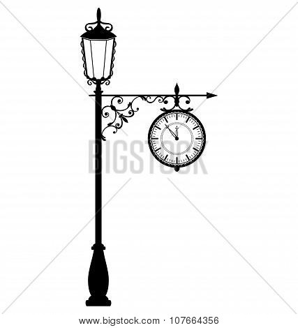 Vintage Black Lamppost With Clock Isolated On White