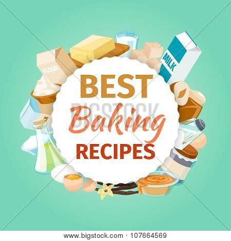 Baking vector background with food ingredients