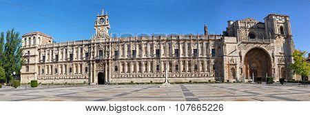 Facade Of San Marcos Monastery In Leon