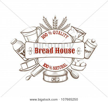 Vintage bakery hand drawn vector background with food ingredients and kitchen tools