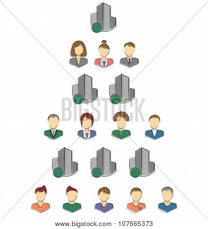 Flat Icons Of Persons And Buildings For Infographic Isolated On