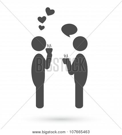 Flat People Coffee Romance Icon Isolated On White Background