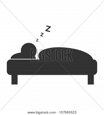 Flat Sleep Icon Isolated On White