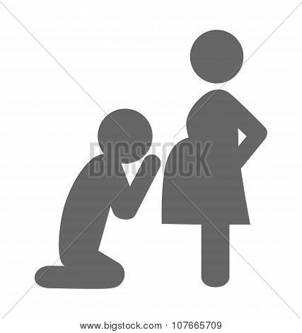 Pregnant Woman And Her Husband Pictogram Flat Icon