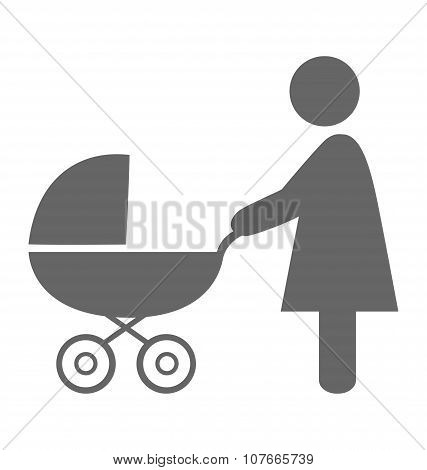 Woman With Pram Pictogram Flat Icon Isolated On White