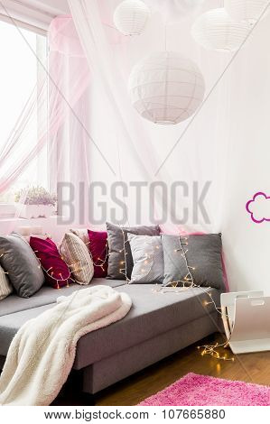 Girly Bedroom With Big Bed