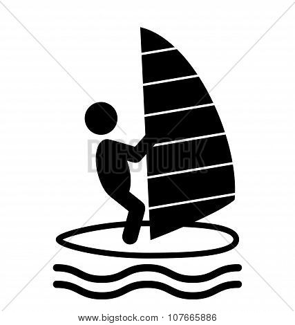 Summer Water Sport Windsurf Pictograms Flat People Icons Isolate