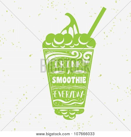 Vegan  Typography Poster With Smoothie