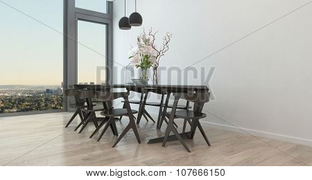 Table and Chairs in Sparsely Decorated Dining Room in High Rise Condominium Building - Architectural Interior of Contemporary Dining Room with Dramatic Flower Arrangement and Bare Walls. 3d Rendering