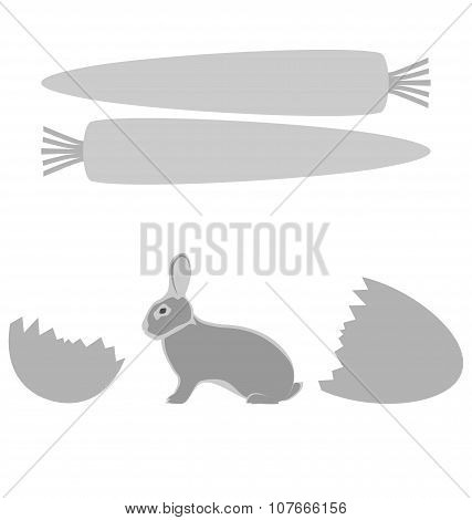 Grey Rabbit Hatched From An Egg And Carrot Frames On White