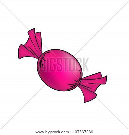 Christmas Wrapped Candy. Pink Packaged Sweet, Goody In A Piece Of Paper. Vector Illustration Isolate