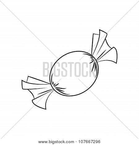 Christmas Wrapped Candy. Outline Of Packaged Sweet, Goody In A Piece Of Paper. Vector Illustration I