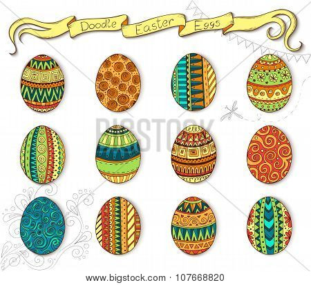 Doodle vector Happy Easter set with eggs.