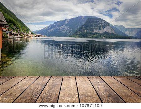 mountains in village Hallstatt in the Austrian Alps, region of Salzkammergut