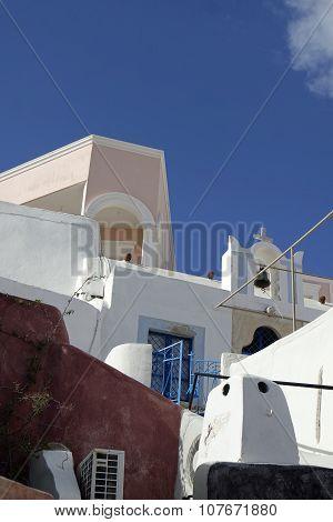Traditional Greece Architecutre In Oia On Santorini Island