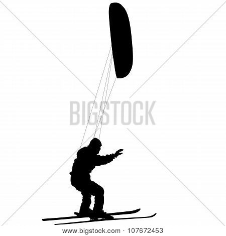 Men Ski Kiting On A Frozen Lake.  Vector Illustration.