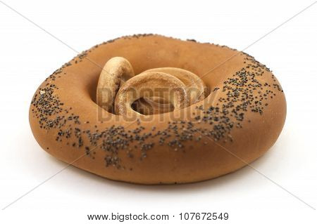 A delicious bagel bread on a white background isolated