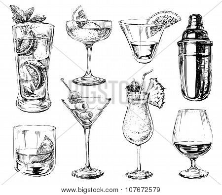 Set of sketch cocktails and alcohol drinks