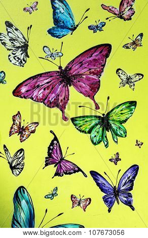 MOSCOW, RUSSIA - NOVEMBER 08, 2014: Old Arbat Street. Butterfly graffiti.
