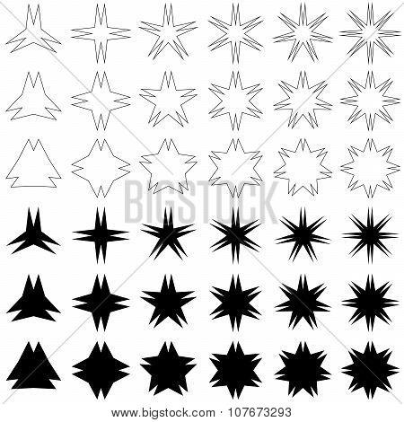 Double peak star symbol set