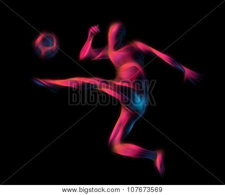Soccer Player Kicks The Ball. The Colorful Illustration On Black Background.