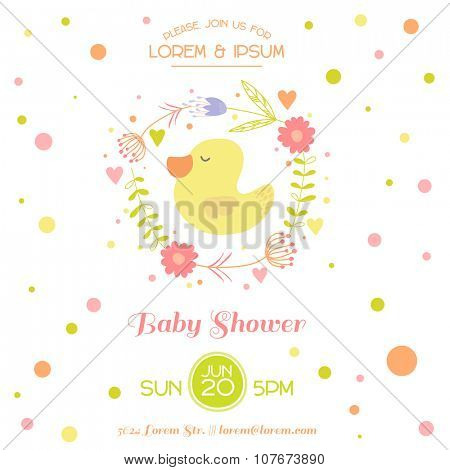 Baby Shower Card - with Cute Duck - in vector