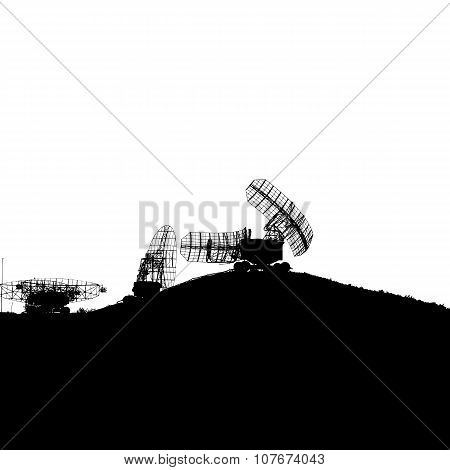 Silhouette  Military Radar Dish. Vector Illustration.