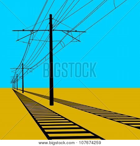 Railroad Overhead Lines. Contact Wire. Vector Illustration.