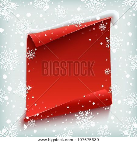 Red, curved, paper banner on winter background.